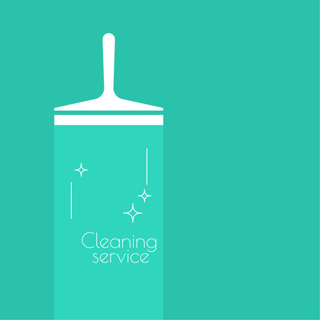 cleanliness: Abstract background with vector icon scraper for windows. Linear icon. Thin line. The concept of home cleaning and cleanliness. The symbol of house cleaning. cleaning service.