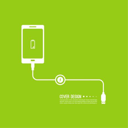 fond abstrait avec une charge des téléphones mobiles. câble USB est connecté au téléphone intelligent. La charge de puissance de concept. Vecteur. Batterie faible
