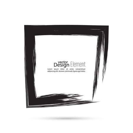 framework: Hand drawn square, photo, foto frame. Text box smears. Vector Black border. Grunge banner