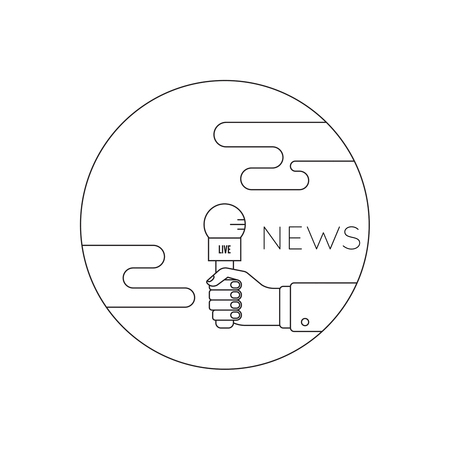 interviewer: Journalism concept. Live news template with microphone. Symbol breaking news on TV radio. Journalist holding mic. interview, reporter, press, interviewer, media, paparazzi. Vector Linear design Icon Illustration