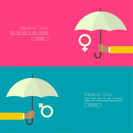 transmitted: Male hand holding an umbrella. The concept of family protection, security, planning, treatment of sexually transmitted diseases.