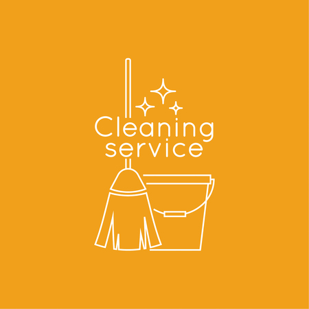 housecleaning: cleaning service with broom and bucket. Linear icon. Thin line. The concept of home cleaning and cleanliness.  cleaning service. Illustration