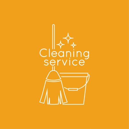 limpieza: servicio de limpieza con la escoba y un cubo. icono lineal. Linea fina. El concepto de limpieza para el hogar y la limpieza. servicio de limpieza.