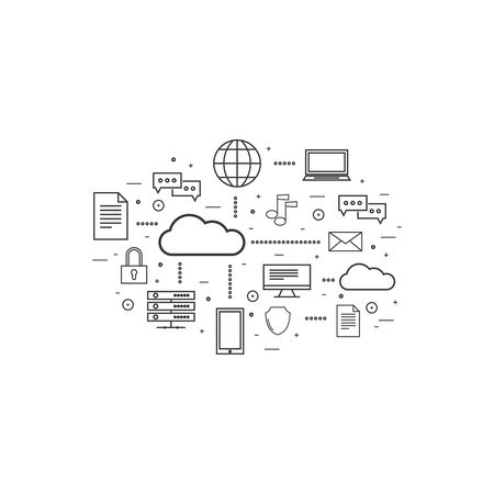 global network: Network cloud computing. Web hosting and cloud technology. Database protection security. Global data transfer and storage  server. Communication technologies connecting different devices. Illustration
