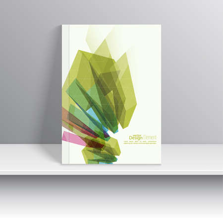 flier: Magazine Cover with colored crystals, trellis structure.  For book, brochure, flyer, poster, booklet, leaflet postcard flier headline annual report vector Illustration