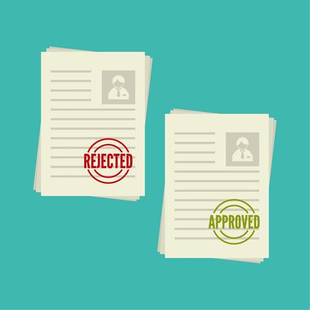 Packung Blätter Papier mit Stempel abgelehnt, die Genehmigung. Zusammenfassung mit der Markierung über Ablehnung, Akzeptanz. Cv Verleugnung, genehmigt. Lebenslauf, Personalakte
