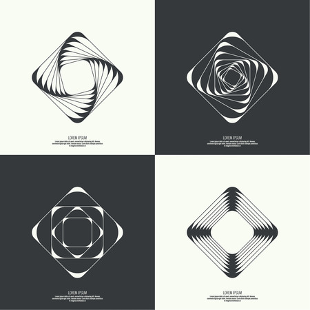 intersecting: Set Abstract background with intersecting geometric shapes. Square, rectangle geometry. Badge, monogram, banner. Black and White. shutter