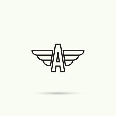 wing logo: Elegant dynamic alphabet letters with wings. Monogram wing logo mockup. Creative design element. Corporate branding identity. Vector template. Illustration