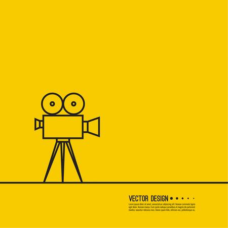 Movie projector vector illustration.  Cinematic camera. Linear icon. Line art