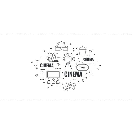 watching movie: Abstract background with popcorn,  camera, film reel, clapboard, 3D glasses and  tickets. The concept of cinema and watching  movie. Layout, flyer, poster for announcement. thin line.