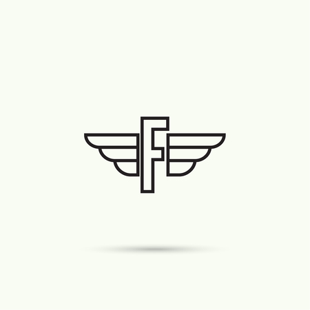 quickness: Elegant dynamic alphabet letters with wings. Monogram wing logo mockup. Creative design element. Corporate branding identity. Vector template. Letter f