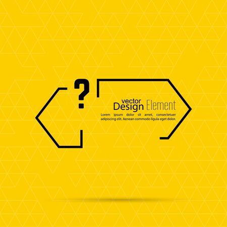 textbox: Question mark blank template. Help symbol. FAQ sign icon. Empty vector form.  information, text box, textbox on yellow background. Speech Bubbles.
