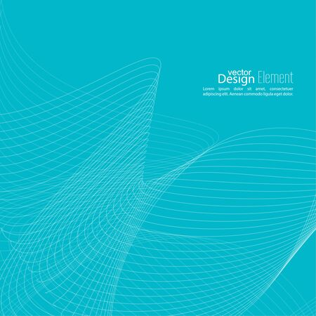 techno: Abstract techno background with lines in waves. Flow popular form vector. Futuristic high tech design for scientific cover book, brochure, flyer, poster, magazine, website. Blue Illustration