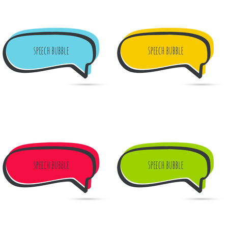 Set hand drawn speech bubble. Vector frame. Text box. Multicolor, red, blue green yellow Illustration