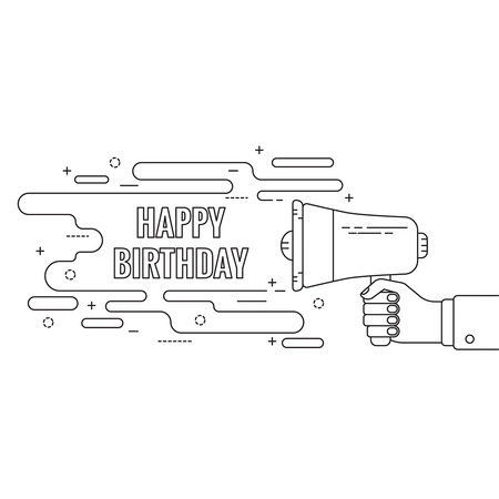 speaker box: Hand holding a megaphone. Icon  loudspeaker with linear banner, text box. Notification through the speaker, advertisement bullhorn. Vector. Happy Birthday Illustration