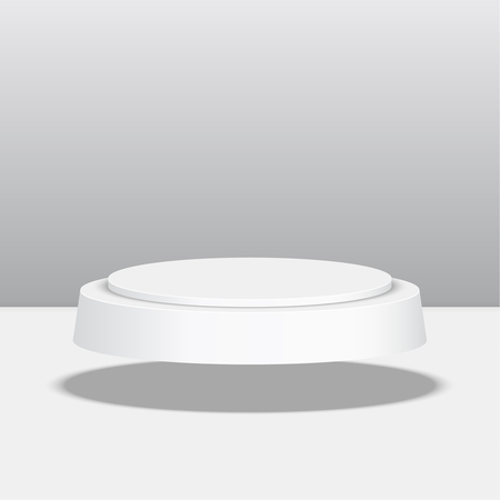 Round pedestal for display. Platform for design. Realistic 3D empty podium 向量圖像