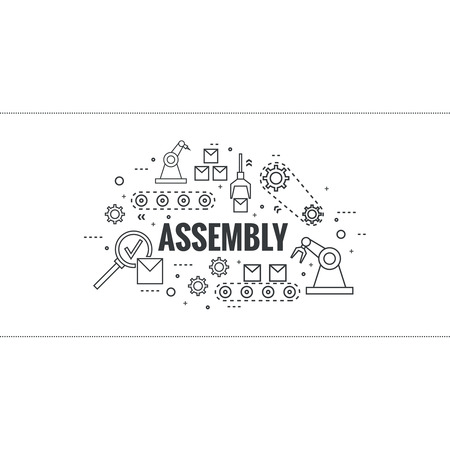 grasp: Thin Line Art Design. Linear vector set icons and elements.  Concept Production line, Assembly, development, robotic automatic conveyor manufacture. Gear wheel and belt. Illustration