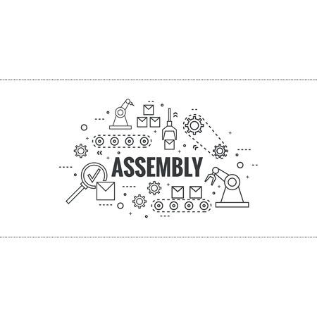 Thin Line Art Design. Vector Linear set icone ed elementi. Concetto di linea di produzione, assemblaggio, sviluppo, produzione robotizzata trasportatore automatico. ruota dentata e cintura.