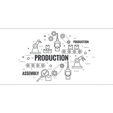 Thin Line Art Design. Linear vector set icons and elements. Concept Production line, Assembly, development, robotic automatic conveyor manufacture. Gear wheel and belt.
