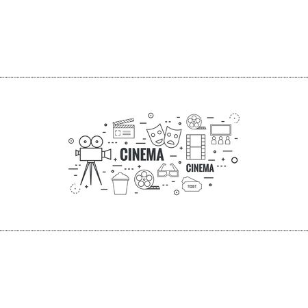 watching movie: Abstract background with popcorn, camera, film reel, filmstrip, clapboard, mask, 3D glasses and tickets. The concept of cinema and watching movie. Layout, flyer, poster announcement. thin line