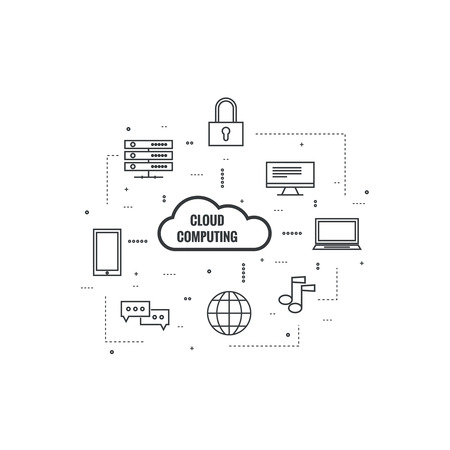 Network cloud computing. Web hosting and cloud technology. Database protection security. Global data transfer and storage  server. Communication technologies connecting different devices. Illustration