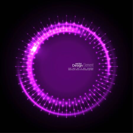 mauve: Abstract techno background with spirals and rays with glowing particles. Tech design. Lights vector frame. Glowing dots. purple, lilac, mauve, violet, magenta