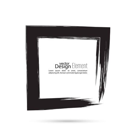 smears: Hand drawn square, photo, foto frame. Text box smears. Vector Black border. Grunge banner