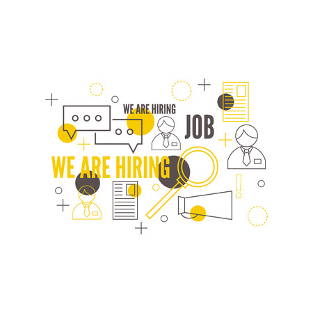 executive search: Recruitment. Concept search better candidate for open position. We are hiring, hr. Job offer. Wanted employee, staff. Vector linear icon. Illustration