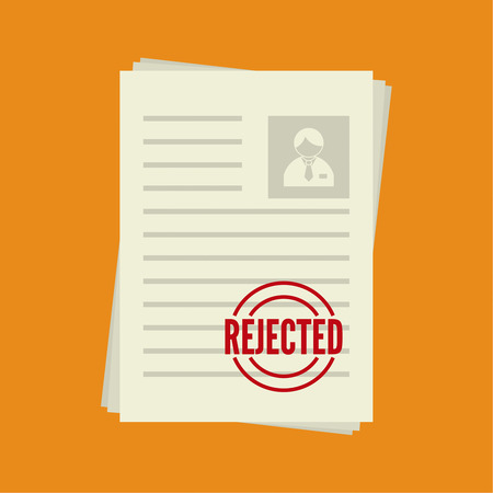 denial: Pack of sheets of paper with stamp of rejected. Summary with  mark about refusal. Cv denial. resume, personal file