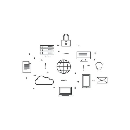 protection devices: Network cloud computing. Web hosting and cloud technology. Database protection security. Global data transfer and storage  server. Communication technologies connecting different devices. Illustration