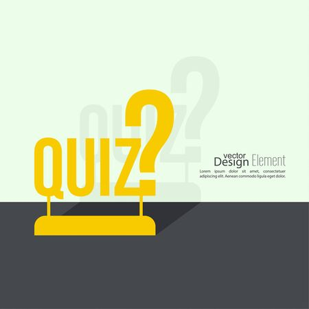 questionably: Quiz background. The concept is the question with the answer. vector.  Flat design with  shadow on  wall