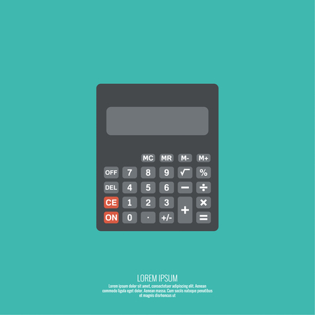 subtract: Calculator top view. Vector icon. Flat design Illustration