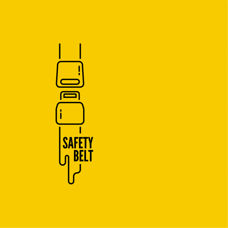 security symbol: Vector thin line icon safety belt. Clasp. Simple mono linear pictogram. symbol of the security. Abstract background