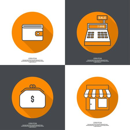 cash desk: Set of vector icons pictograms in flat style of mobile and web applications. minimal, outline. Purse, shop, cash desk, Wallet. concept of E-commerce Illustration