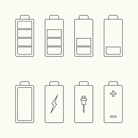 watts: Icons battery charge indicator. Vector. For mobile and web applications Illustration