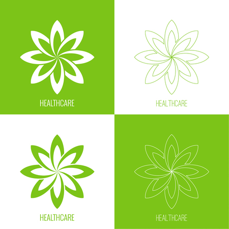 Set Abstract vector element. Lotus flower. Icon for beauty, healthcare, wellness, fashion, cosmetic, perfume, yoga emblem, herbal product spa massage salon delicate color