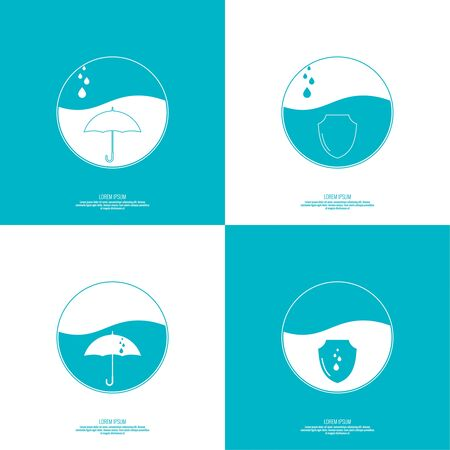 Set of abstract vector icons with a shield, an umbrella and water drops, rain. Sphere with the liquid and drops of water. Waterproof icon. Protection and defense.