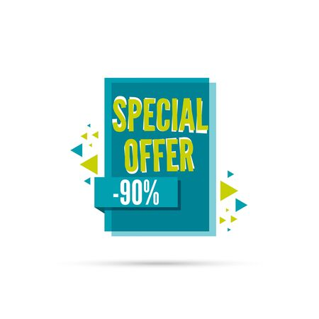 special price: Sale banner. Vector tag. special offer, discount, price 90 percentage Special offer