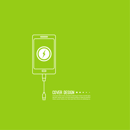 charger: Abstract background with charge mobile phones. usb cable is connected to the smartphone. The concept  power charging. Vector icon