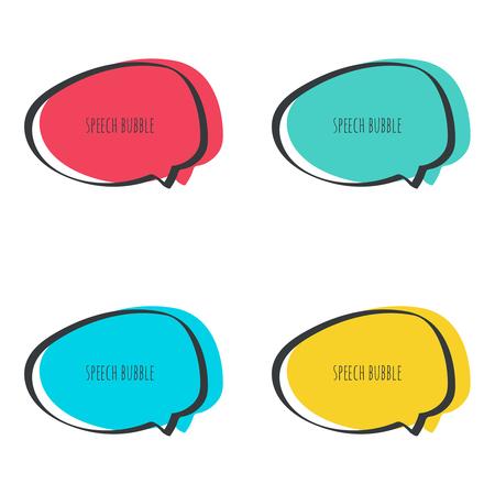 dialogo: Establecer dibujado a mano bocadillo. Marco del vector. Caja de texto. Multicolor, rojo, verde, azul, amarillo