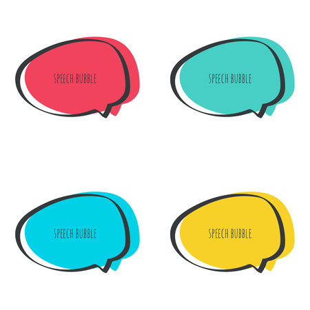 Set hand drawn speech bubble. Vector frame. Text box. Multicolor, red, blue green yellow Ilustração