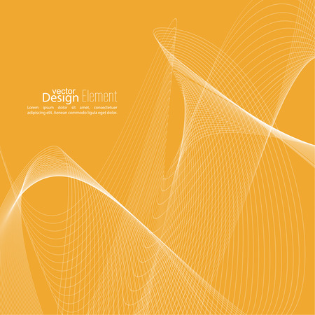 flux: Abstract techno background with lines in waves. Technology, technical vector. Futuristic high tech design for scientific cover book, brochure, flyer, poster, magazine, website. yellow Illustration