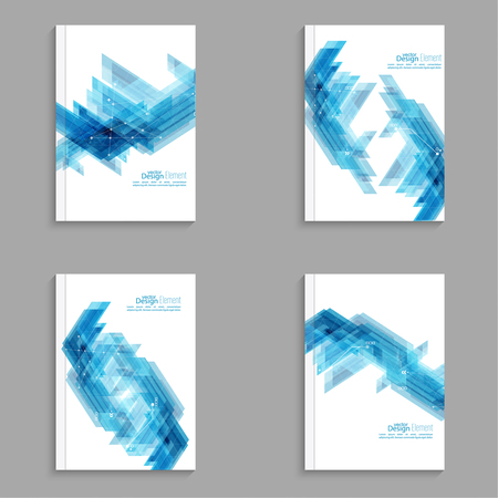 flier: Magazine Cover with blue stripes corner, triangles. For book, brochure, flyer, poster, booklet, leaflet, postcard flier  headline annual report vector abstract background
