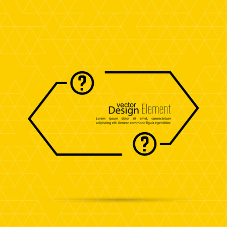 questionably: Question mark blank template. Help symbol. FAQ sign icon. Empty vector form.  information, text box, textbox on yellow background. Speech Bubbles.