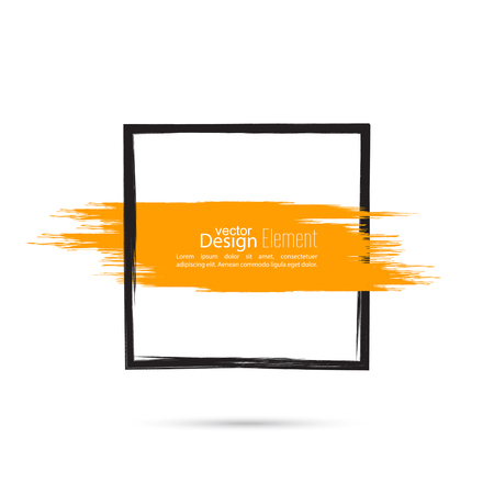 frame  box: Abstract background with square banner and smear paint. Text box and frame. Vector hand drawn.template, layout Illustration