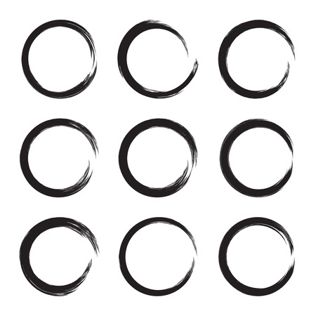 text box: Set hand drawn ovals, circle, curve frame. Text box from smears. Vector  Black stroke border