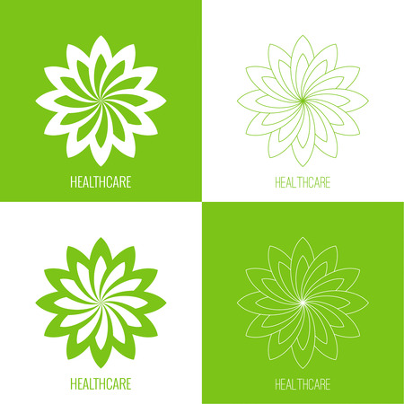 Set Abstract vector logo element. Lotus flower. Icon for beauty, healthcare, wellness, fashion, cosmetic, perfume, yoga emblem, herbal product, spa massage salon delicate green color