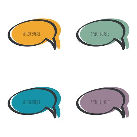 Set hand drawn speech bubble. Vector frame. Text box. Multicolor, purple, blue green yellow
