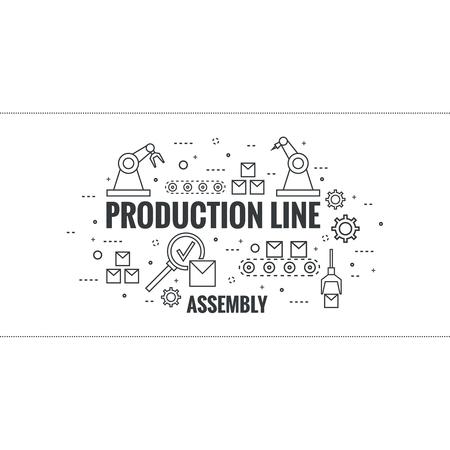 Línea delgada del diseño del arte. vector lineal ajustado iconos y elementos. Concepto de línea de producción, montaje, desarrollo, fabricación transportadora automática robótica.