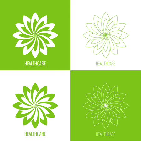 Set Abstract vector element. Lotus flower. Icon for beauty, healthcare, wellness, fashion, cosmetic, perfume, yoga emblem, herbal product, spa massage salon delicate green color